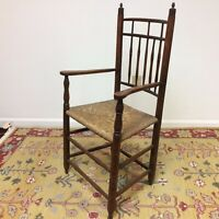 Wonderful 19th C Bird Cage Arm Chair With Turned Beehive Finials Old Finish