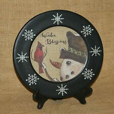 Winter Blessings Snowman Decorative Plate On Stand Hearthside Collection
