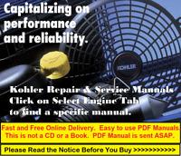 Kohler Repair Service Workshop Manual