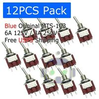 12 PCS MTS-103 Latch Mini Toggle Switch 125VAC 6A ON-OFF-ON 3 Positions SPDT M64