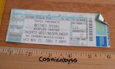 2001 Britney Spears Full concert ticket Los Angeles
