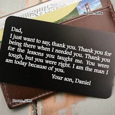 Personalised Father's Day Wallet Insert Gift for Dad Daddy Birthday Present W14