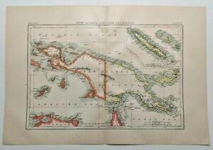 1894 Vintage NEW GUINEA & NEW CALEDONIA Atlas Map Encyclopedia Britannica