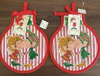 Vtg American Greetings Himself The Elf Christmas Mistletoe Kiss Pot Holder 1980