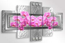 Quadro Moderno 5 pz. ABSTRACT ORCHIDS 3 cm 150x90 arredamento orchidea orchidee