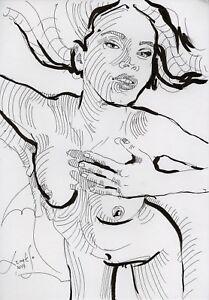 Original Nude Erotik Figure Drawing Picture(30x21)cm1167 DE  act erotic