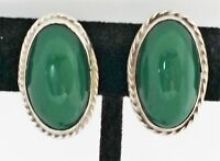 Vtg Sterling Silver Green Onyx Stone Oval Hand Made Screw Back Earrings Mexico