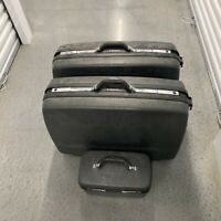 Vtg 1960's Black Samsonite Silhouette 3 PC Luggage Suitcase Set Train Carry On