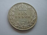 1897 QUEEN VICTORIA SILVER SIXPENCE - BRILLIANTLY UNCIRCULATED