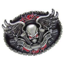 Nolvety BIKER TO THE BONE Skeleton Head Western Cowboy Metal Belt Buckle