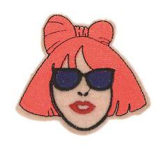 Artist girl Neon Orange (Iron on) Embroidery Applique Patch Sew Iron Badge