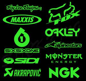 10 X Motocross MX Racing Sticker Kit - Sponsors Decals Fluorescent GREEN Vinyl