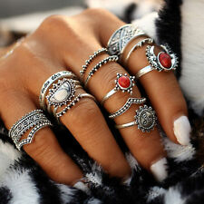 14Pcs/set Vintage Women Antique Silver Moon Sun Gems Midi Finger Rings Jewelry