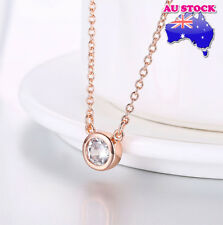 Wholesale 18K Rose Gold Filled Circle Clear Zircon Crystal Necklace Pendant