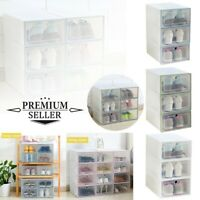 3PCS Foldable Shoe Storage Box Shoe Organizer Transparent Plastic Shoes Cabinet