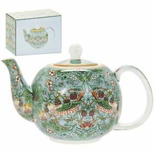 William Morris Strawberry Thief Fine China Tea Pot Box By Leonardo