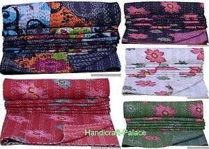 Indien Set Coton Double Taille Fleur Couvre-Lit Couverture Réversible Gudari