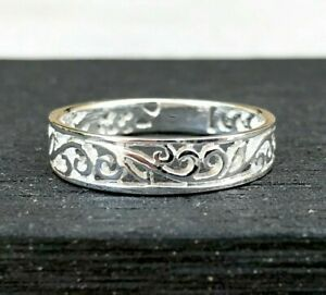 Sterling Silver Twirl Band Ring, Unique Vine Band Ring, Womens Jewelry Sizes 6-9