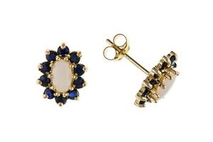 Sapphire and Opal Earrings Cluster Stud Solid 9 Carat Yellow Gold Studs