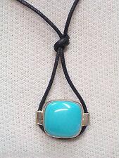 Ciondolo in ARGENTO con Neolite azzurra cabochion e girocollo - pietra dura