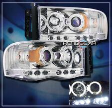 2002-2005 DODGE RAM 1500/2003-2005 2500 3500 HALO LED PROJECTOR HEADLIGHT CHROME