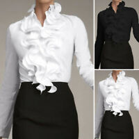 Women Long Sleeve Collar Tops Ladies Office OL Work Shirt Ruffled T-Shirt Blouse