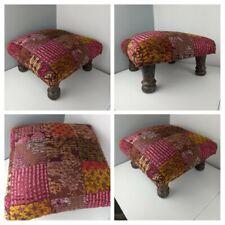VINTAGE- Patchwork Bohemian Wooden Pink Purple Footstool Indian Tiki Seat Padded