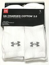 Under Armor UA Charged Cotton 2.0 White Crew Socks Athletic 6 pairs pack Size L