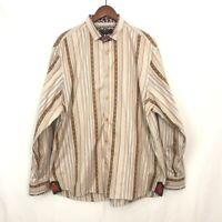 EUC! COOGI LUXE Men's Stripe & Paisley Print Flip Cuff Button Up Shirt Size 2XL