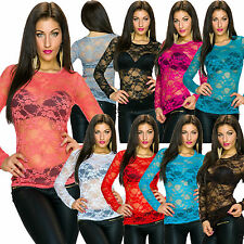Geblümte klassische Damenblusen, - tops & -shirts mit Rundhals-Ausschnitt