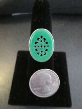 Green Carved Out Oval Chinese Jade Gemstone Ring Set in Sterling Silver Size 8
