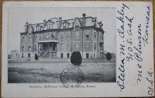 McPherson, KS 1906 Postcard: College Dormitory - Kansas Kans