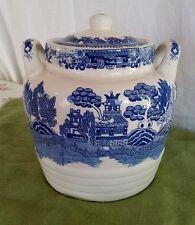 Vintage Japan Blue Willow Transferware Lidded Jug Pot Crock Cookie-Jar w/Handles