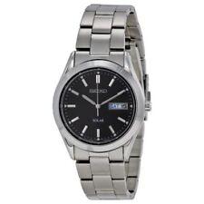 New Seiko Solar Men's Silver-Tone Stainless Steel Black Dial Watch SNE039