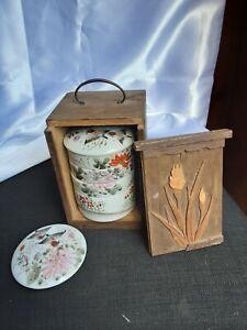 Antique 1920s  Asian chinese porcelain dip set in original box