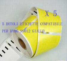5 X Etichette Compatibili per DYMO 99012 Giallo 89X36mm LABELWRITER 310 320 330