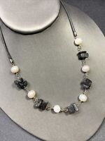 """Vintage Necklace Sterling silver freshwater pearl black stone beaded 16"""" Leather"""