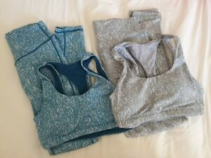 2x Echt Sets Sports Bra And Leggings Size XS Blue & Light Grey