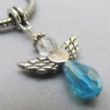 Turquoise Swarovski Crystal Angel European Charm - March Birthstone Aquamarine