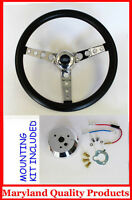 "Ford Falcon Thunderbird Galaxie GT Retro Steering Wheel Black 14 1/2"" Ford Cap"