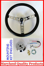 "Ford Falcon Thunderbird Galaxie GT Retro Steering Wheel Black 14 1/2"" Ford Cap"