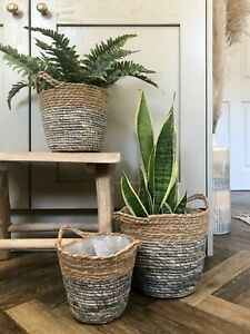 Woven Plant Basket Lined Planter Flower Pot Holder Natural & Grey Scandi Style