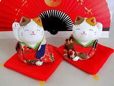 2 Bianco Giapponese Gatto Fortunato Verde Ornamento Figura Cinese Festa di Compleanno 301&2G