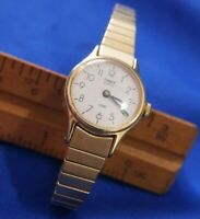 TIMEX STRETCH BAND WASHED GOLD TONE watch new battery