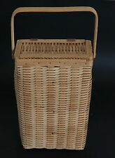 Hand Woven Picnic / Decorative Basket for 2 Wine Bottles with Lid & Wood Handle