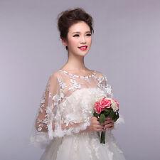 Womens Embroidery Lace Shawl Rhinestone Wedding Bridal Cape Stoles Shrug Wrap