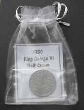1950 70th birthday wedding HALF CROWN  vintage party coin a free gift box + bag