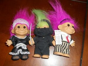 Russ Troll Dolls Lot of 3 - RARE HARDER ONES- Lot #4 MAID WALL STREET NINJA