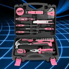 Pink Portable Household Toolbox 46-Piece General Home Repair Hand Tool Package