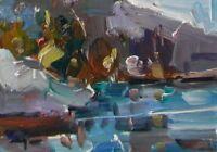 """JOSE TRUJILLO Oil Painting Landscape Contemporary Lake Study Small 6X8"""" ORIGINAL"""
